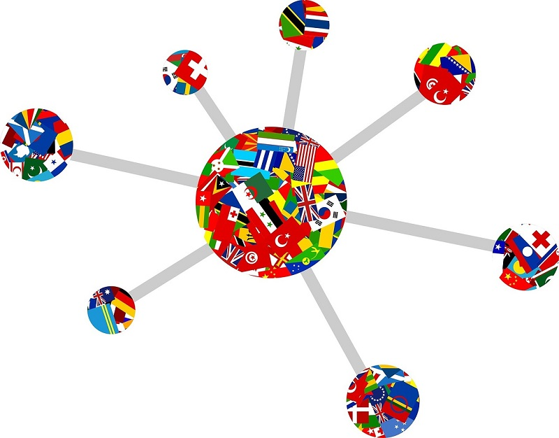 Users from different world regions connect to a web site via its host