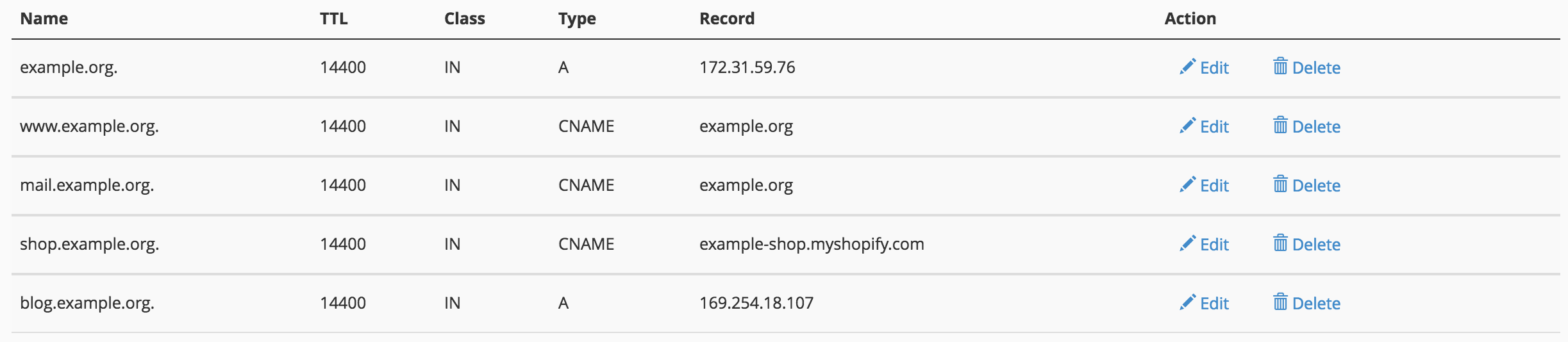 Example DNS Records in cPanel.