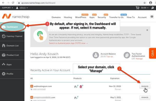 Select Domain - Namecheap